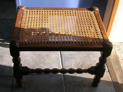 Antique Woven OAK STOOL Table 20 x 15ins Wooden Footstool vgc
