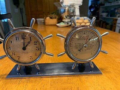 Antique Waltham Ships Clock And Barometer, Miniature, Works!