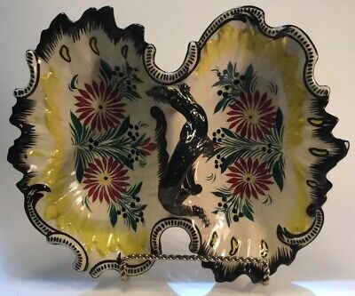 Antique French Faience Handled Serving Platter Signed Quimper 1895-1922