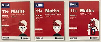 Bond 11+Maths10 Minute Tests,Assessment Papers,Stretch Papers 10-11+ 3Books Set