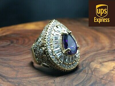 925 Sterling Silver Handmade Authentic Amethyst Turkish Ladies Ring Size 6-10
