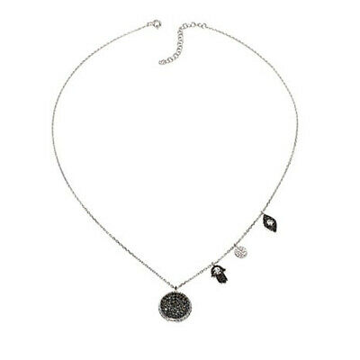 "RARITIES BLACK SPINEL RHODIUM STERLING BEADED STARBURST 32/"" NECKLACE HSN $241"