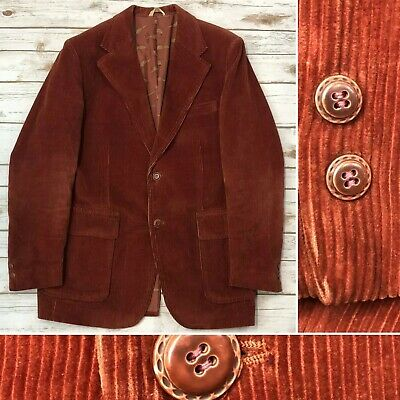 Anderson Little Men's 44L Brick Red Corduroy Vintage Blazer Jacket Sport Coat