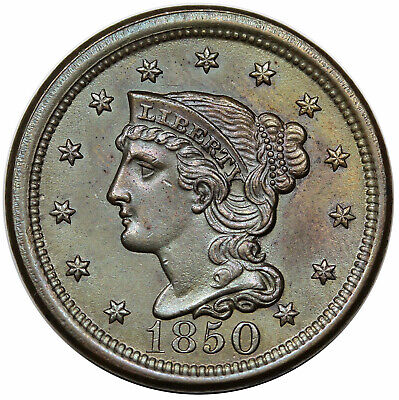 1850 Braided Hair Large Cent, N-6, R1, UNC