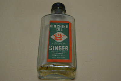 Vintage Singer Sewing Machine Oil Glass Bottle With Metal Screw On Lid