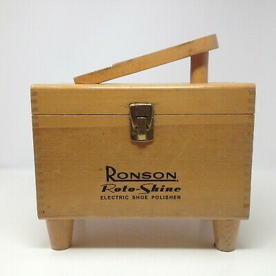 Vintage Ronson Roto Shine Electric Shoe Polisher Dove Tail Wood Box Only