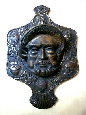Antique Solid Brass Henry VIII w his 6 Wives Door Knocker Heavy Made in Britian