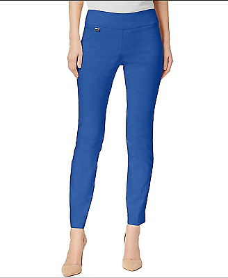 ALFANI New Womens 12 Blue Crest Tummy Control Skinny Comfort Stretch L Pants NWT