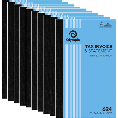NEW 10x Pack Olympic #624 Duplicate Tax Invoice & Statement Book BULK 140872