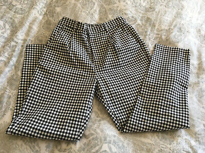 New Women's Black & White Checked Pants Medium Earth Music & Ecology Japan