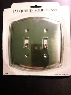 """2 Lacquered Solid Brass Double Switch Plates (NEW!) """"VERY ELEGANT!"""""""