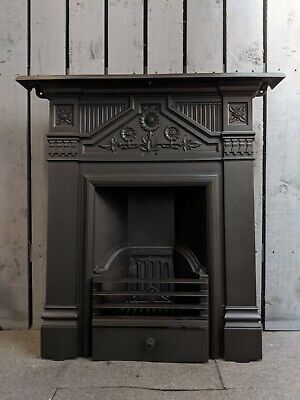 Antique Victorian Cast Iron Fireplace woodburning DELIVERY free or £35 most  UK