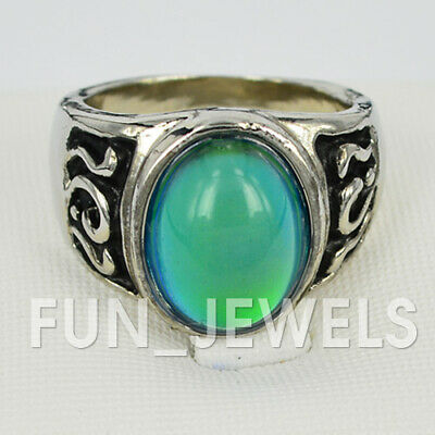 New Vintage Oval Mood Ring Multi Colored Change Retro Free Color Chart & Bag