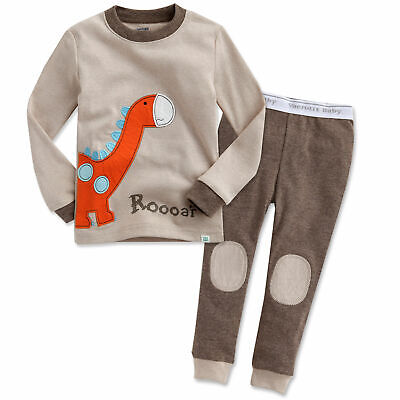 "Vaenait Baby Toddler Kids Boys Girls Clothes Pajamas Set ""Brown Dino"" L(4-5T)"