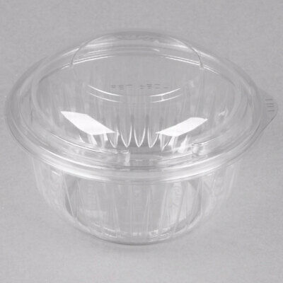 Premium Plastic Food Bowl Round Hinged Dome Lid Clear 12 16 20 24 oz Show Bowls