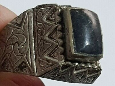 Fantastic Extremely Rare Medieval Silver Ring Superb Rare Dark Stone.8,3 Gr.19Mm