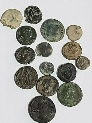 Extremely Rare Top Lot Of 15 Ancient Roman  Bronze Coins Various Emperors