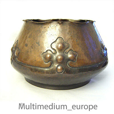 Antique Arts and Crafts Copper Pot Copper Flowers over Pot Handmade 1900 Rare