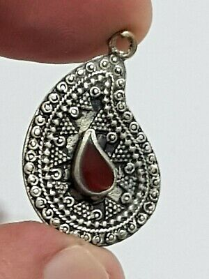 Stunning Extremely Rare Medieval Silver Ottoman Pendant Rare Stone.3,1 Gr.31 Mm