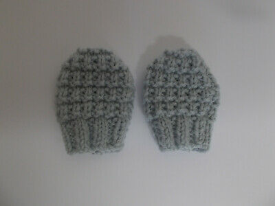 Hand Knitted Baby Mittens Newborn Size Textured Effect Grey