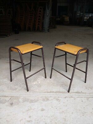 Pair of Vintage Stacking School Lab Stools - Cafe Bar Restaurant