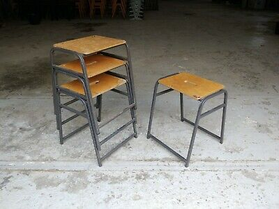 Set of Four Vintage Stacking School Lab Stools by Remploy - Cafe Bar