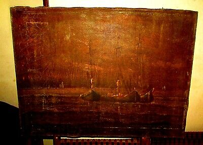 "Antique 19th Oil Painting ""Seventeenth century ships"" Deep paintings. Unique"