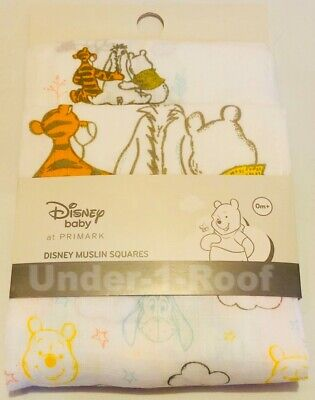 Primark Disney Winnie The Pooh And Friends Unisex Baby 3 Pack Muslin Cloths - Bn