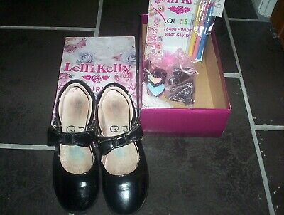 LELLI KELLY COLOURISSIMA Black Patent Leather School Shoes size 1-F width