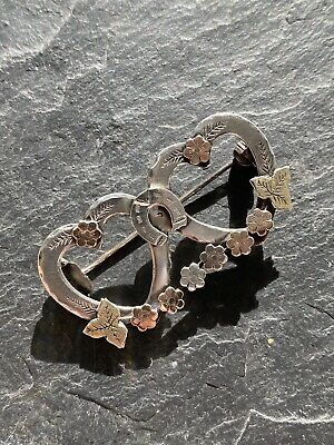 Antique Victorian Extra Large Silver Gold Overlay Double Heart Brooch Sweetheart