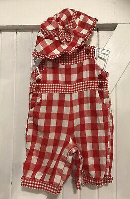 Jojo Maman Bebe Age 3-6 Months Dungare & Hat Red Checked Pretty  Print Cotton