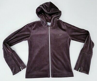 Vintage Nike Womens Girls Hoodie Jacket Size S Brown Velvet Zip Up