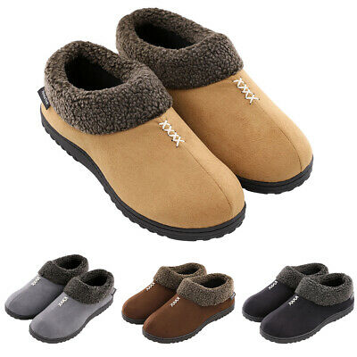 Men's Plush Fuzzy Ankle Bootie Slippers Suede Winter Indoor/Outdoor Casual Shoes