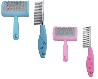 Value Pack Pet Grooming Slicker Brush and Rake Comb For Pet Dog Puppy Cat Rabbit