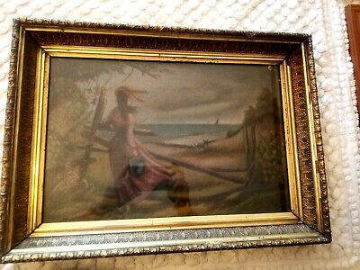1880s O/C PAINTING WOMAN w BERRY PAIL BY OCEAN in FINE GOLD LEAF PERIOD FRAME