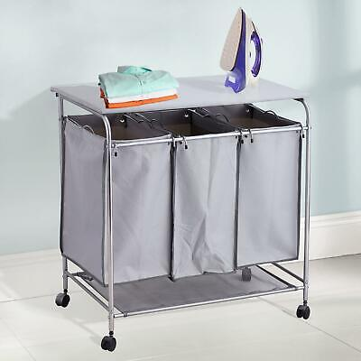 3 Bin Laundry Room Sorter Hamper Basket Ironing Board Combo Grey With Wheels