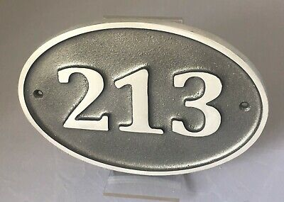OVAL HOUSE DOOR NUMBER SIGN ALUMINIUM HAND CAST ANY NUMBER COLOUR CHOICE 3 SIZES