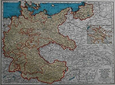 Vintage 1939 Atlas Map WWII Germany, Spain, Portugal OLD Europe World War II Era
