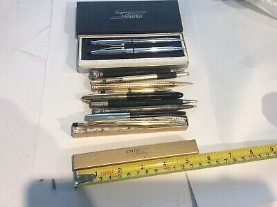 Lot Of 11 Vintage Fountain Pens & Mechanical Pencils Cross Wear ever As Found