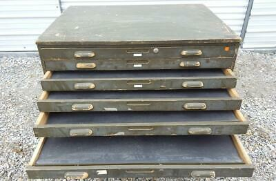 Antique Painted  Wood Flat File Map Art Drafting Blueprint Storage Cabinet