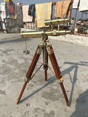 Vintage Nautical Brass Double Barrel Telescope With Wooden Tripod Stand