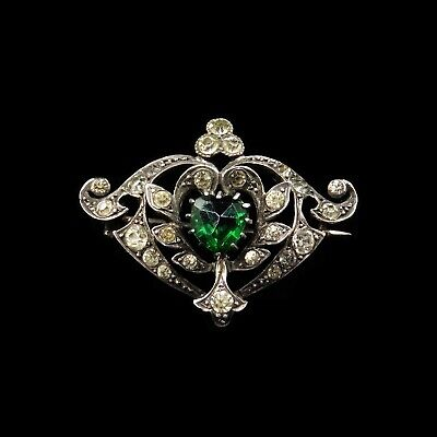 Antique Old Cut Green Heart Paste Sterling Silver Brooch Pin Edwardian Victorian