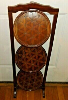 Vintage Folding Solid Wood 3 Tier Pie Rack Stand - Pastry -Decoration