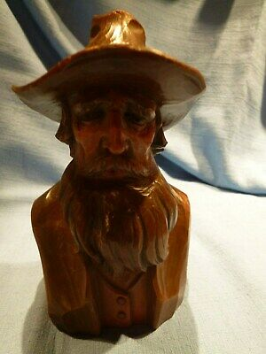 Nicely Carved Treen Vintage Large Black Forest Bust Of A Gentleman