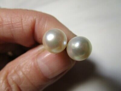 Amazing Antique 14K Gold Mikimoto Quality Genuine Pearl Classic Stud Earrings