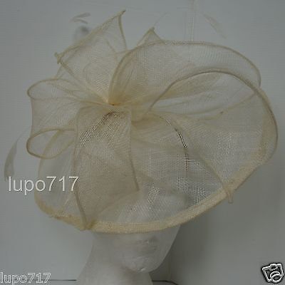 Cream Hat Sinamay Feathers Fascinator Wedding Ascot Race Hen Party Ladies Day