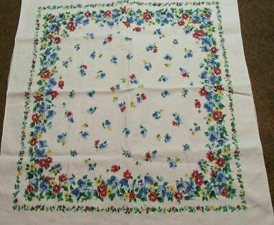 Vintage Luncheon Tablecloth ~ Small ~ Lots Of Flowers