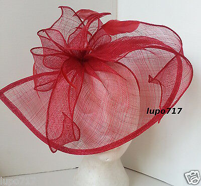 Red Sinamay Feathers Hat Fascinator Wedding Ascot Race Hen Party Ladies Day New