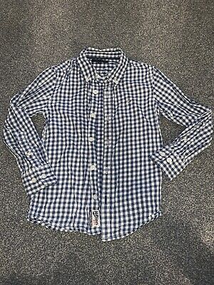 Boys Tommy Hilfiger Navy Checked Shirt Size 116 Aged 5-6