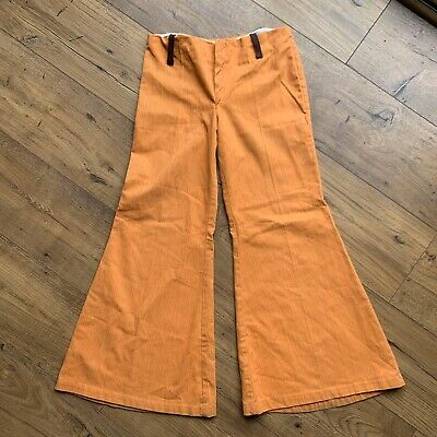 Vintage 1970s Orange Corduroy Flares Childrens Size 12